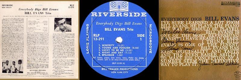 BILL EVANS TRIO Riverside 12-291 EVERYBODY DIGS '58 Lp