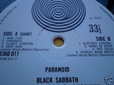 BLACK SABBATH PARANOID 1st UK VERTIGO MINT VINYL\AuDiO